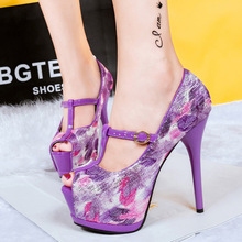 Free shipping 2015 sexy peep toe thin heels Shoes Women T-Strap pumps 2 colors 626-5