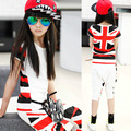 Retail Cotton Girl's Clothing Sets 2017 Summer 2 pcs Children Clothing Suit Set British Style T-shirt & Striped Harem Pants Set