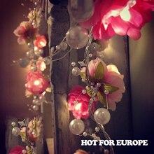 20 светодиодных 5CM Fairy Red White Flower с батарейным питанием String Lights 2m LED Decoration For Christmas Garland Новый год gerlyanda 2017