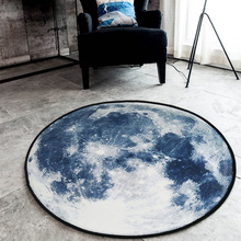 Planet Plush Floor Rug Round Area Carpet For Living Room Bedroom Moon Earth Sun Mats Home Textile Decor Rugs 60/80/100/120/150cm