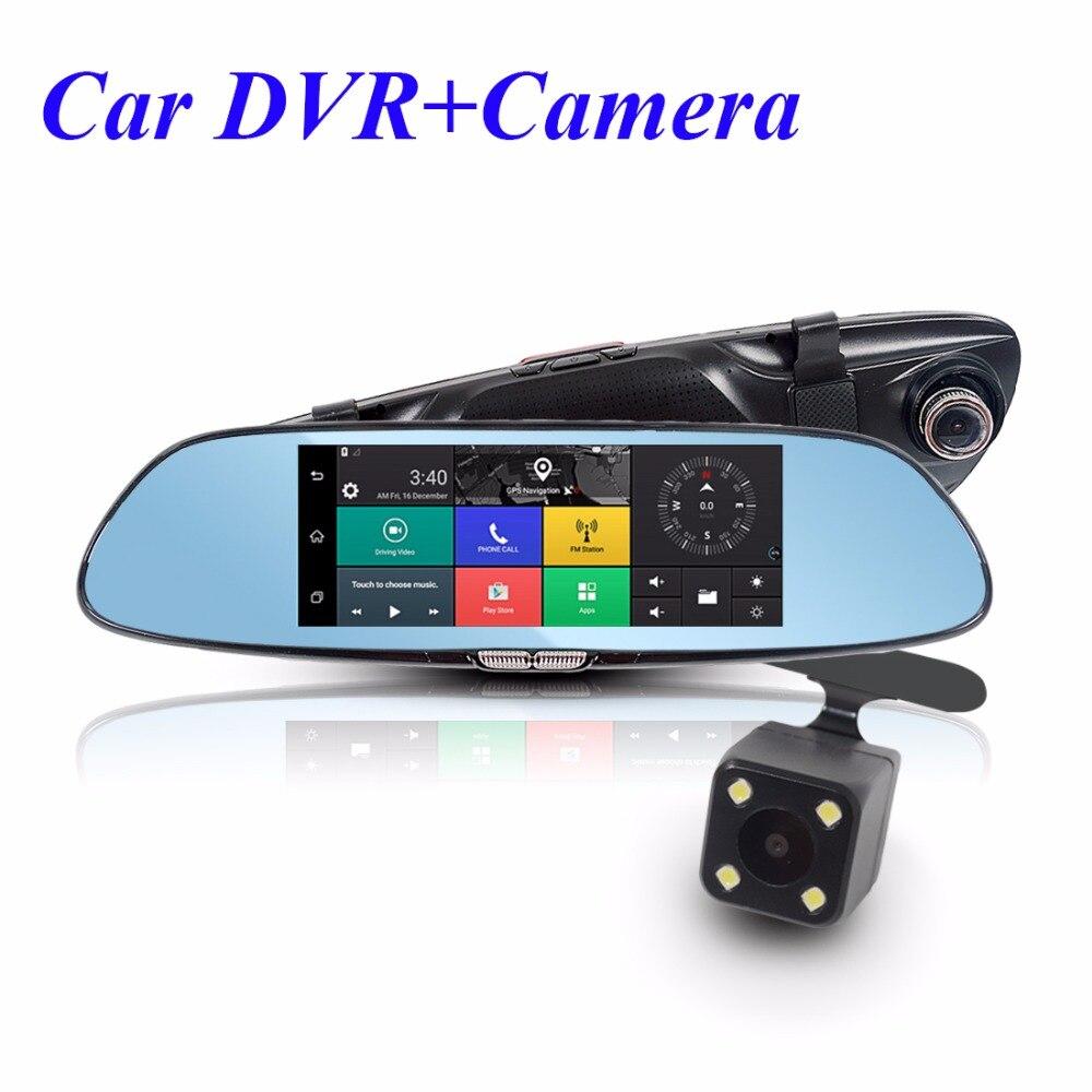 """imágenes para 7 """"Coche DVR + Cámara 3G Android de Navegación GPS HD Espejo grabador de 1080 P de Automóviles Espejo DVR Dash cam WIFI Bluetooth Dual lente"""