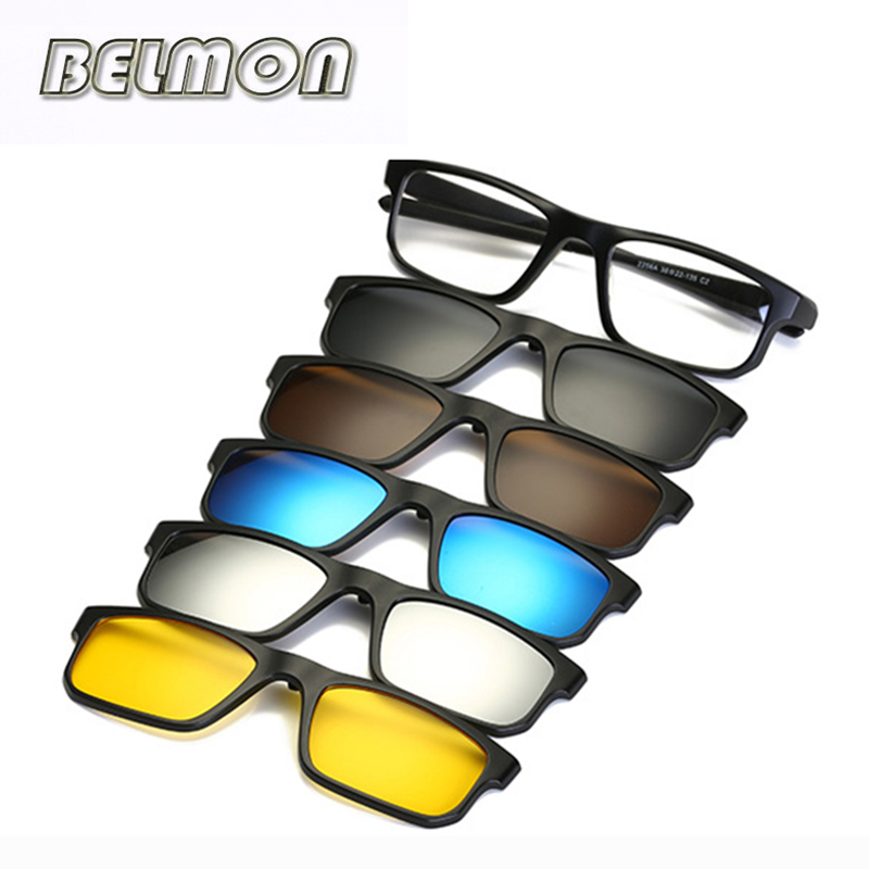 Fashion Optical Spectacle Frame Men Women Myopia With 5 Clip On Sunglasses Polarized Magnetic Glasses For Male Eyeglasses RS219
