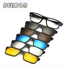 Monture de lunettes optique à la mode, pour hommes et femmes, myopie, avec 5 clips sur lunettes de soleil magnétiques polarisées, pour hommes, RS219