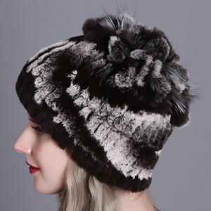 Image 5 - Women fur hat for winter natural rex rabbit fox fur cap russian female fur headgear 2018 brand new fashion warm beanies cap