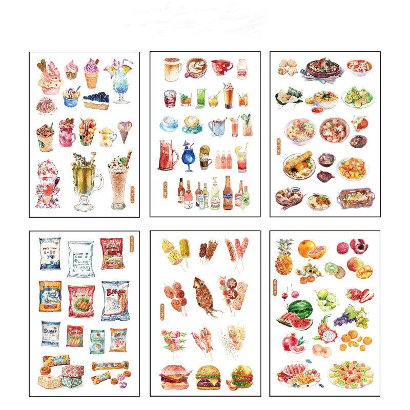 6 Pcs/pack Ice Cream Fruit Bullet Journal Decorative Stationery Stickers Scrapbooking DIY Diary Album Stick