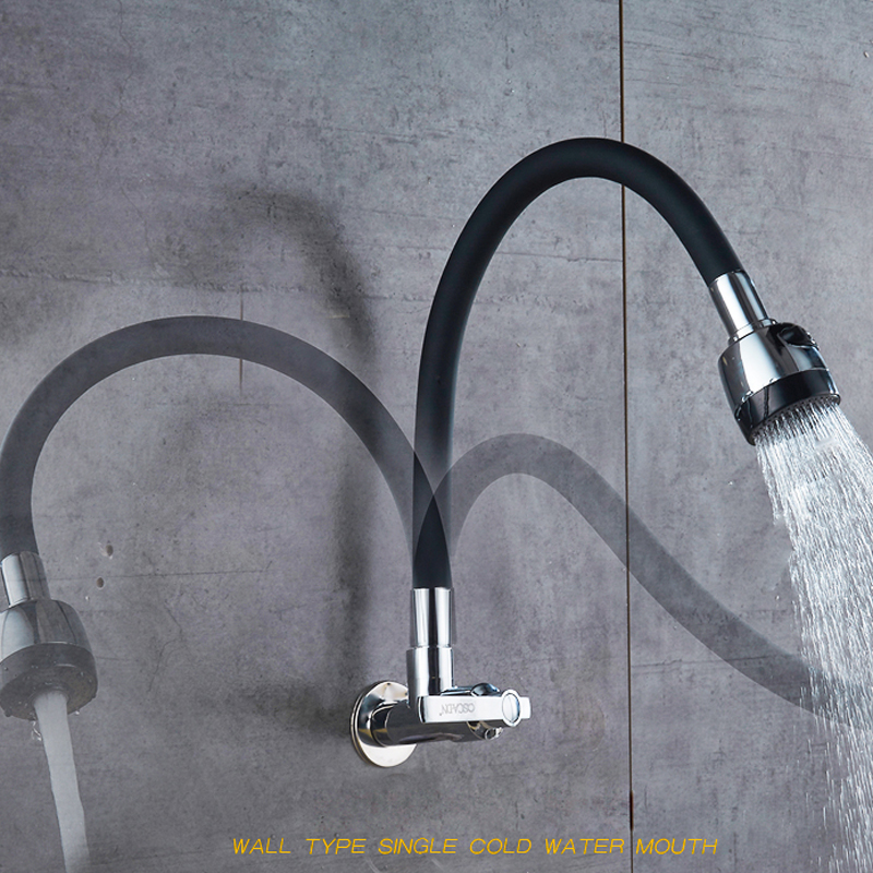 Image 2 - Flexible Direction Rotating Kitchen Faucet Deck Mount Cold Water Faucet Single Handle One Hole Tap Free Shipping-in Kitchen Faucets from Home Improvement