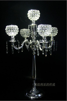 H76cm 5 branch silver metal floor wedding candelabra candelabrum candlestick candle holder with crystal ball ZT027