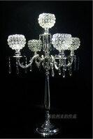 H76cm 5 branch silver metal floor wedding candelabra candelabrum candlestick candle holder with crystal ball ZT027