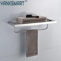 YANKSMART Chrome Polished Swivel Stainless Steel Wall Hanging Bathroom Towel Rail Holder Rack Shelf Double Layer