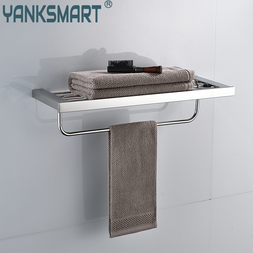 YANKSMART Chrome Polished Swivel Stainless Steel Wall Hanging Bathroom Towel Rail Holder Rack Shelf Double Layer Towel Holder viborg deluxe sus304 stainless steel foldable wall mounted bathroom towel rack shelf towel holder storage