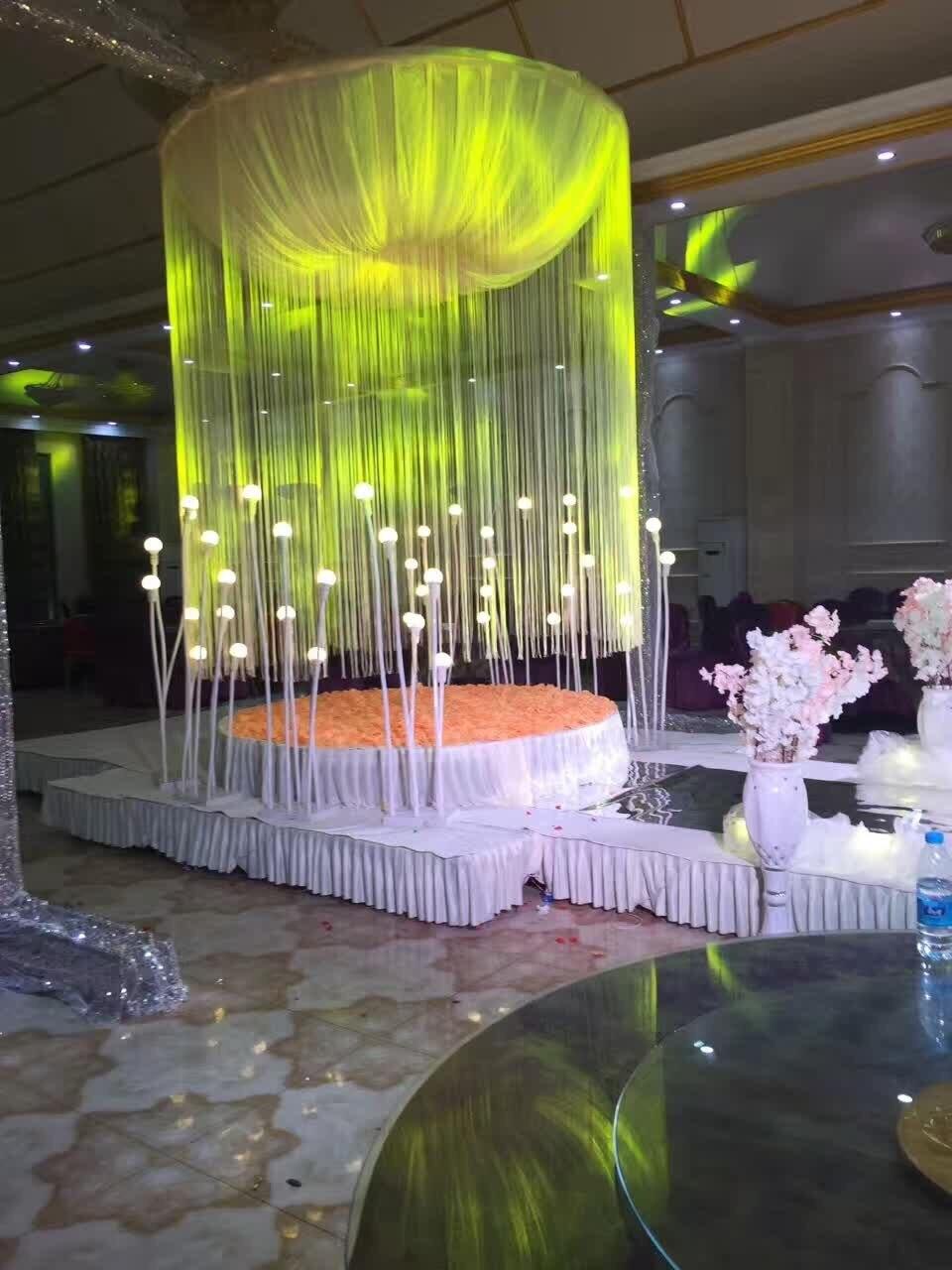 Anneau suspendu rond guirlande fil rideau cercle plafond scène fond mariage et Banquet toile de fond Stand plafond décoration