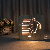 Wooden LED basketball hollow design night light warm light USB power lamp as creative team birthday gift or home decoration