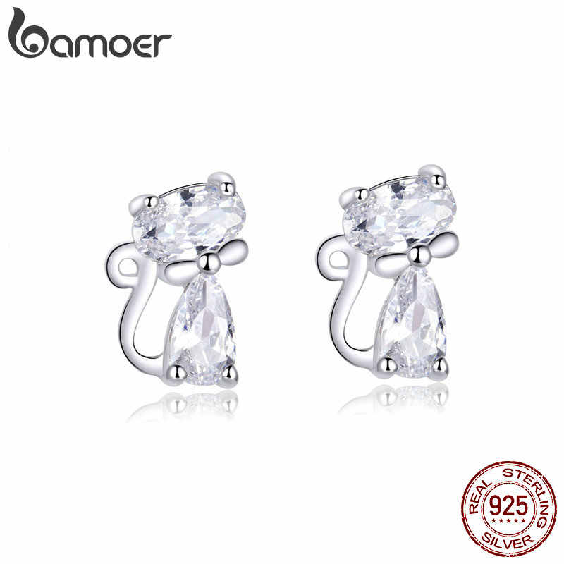 bamoer Cat Silver Stud Earrings Sterling Silver 925 Clear CZ Cute Animal Ohrringe Hypoallergenic Female Gift  Brincos BSE206