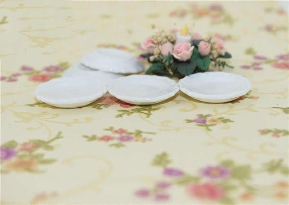 5 uds 1/12 accesorios en miniatura para casa de muñecas Mini placa de cerámica muebles de simulación cocina modelo de plato juguetes para la decoración de la casa de muñecas