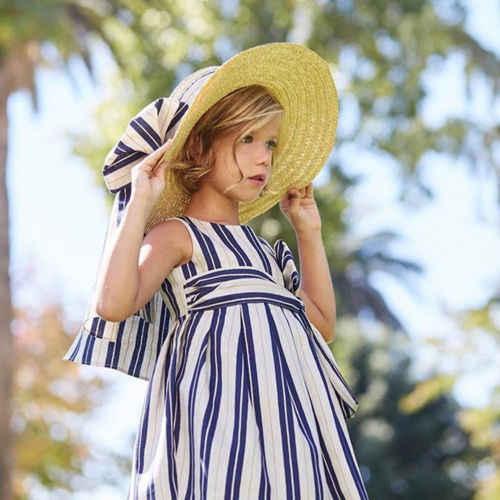 Летние Дети Детские платье для девочек в полоску спинки платье без рукавов вечерние Праздничное платье одежда Повседневное мини-платье для маленьких девочек От 1 до 5 лет