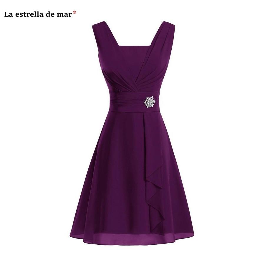 Robe Demoiselle D'honneur 2019 New Sexy V Neck Chiffon A Line Burgundy Mint Green Purple Orange Bridesmaid Dress Knee Length