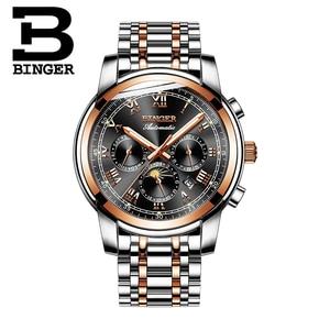 Image 2 - שוויץ אוטומטי מכאני שעון גברים Binger יוקרה מותג Mens שעונים ספיר שעון עמיד למים relogio masculino B1178 3