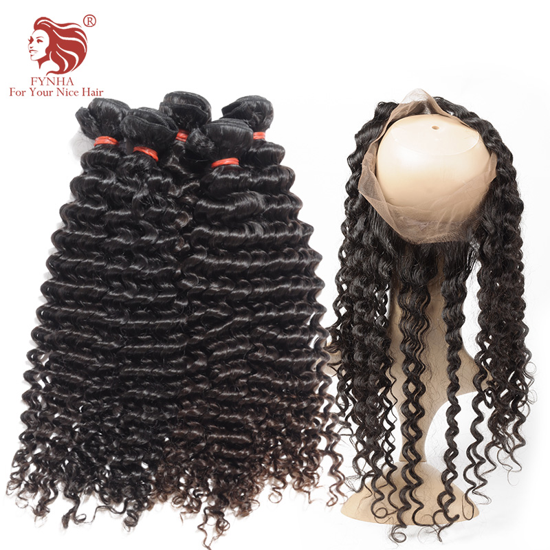 ФОТО 7A Malaysian Hair Weave Bundles With 360 Lace Frontal Band Closure 2pcs Malaysian Virgin Hair Deep Curl With 360 Frontal Closure