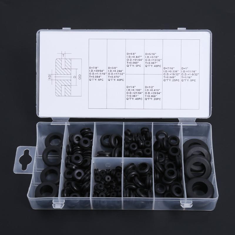 180 unidades surtido de anillos de juntas de alambre el/éctrico para alambre Surtido de arandelas de goma con anillo de ojales enchufe y cable