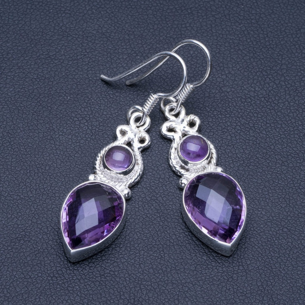 Natural Amethyst 925 Sterling Silver Earrings 1 1/2 Q1663Natural Amethyst 925 Sterling Silver Earrings 1 1/2 Q1663