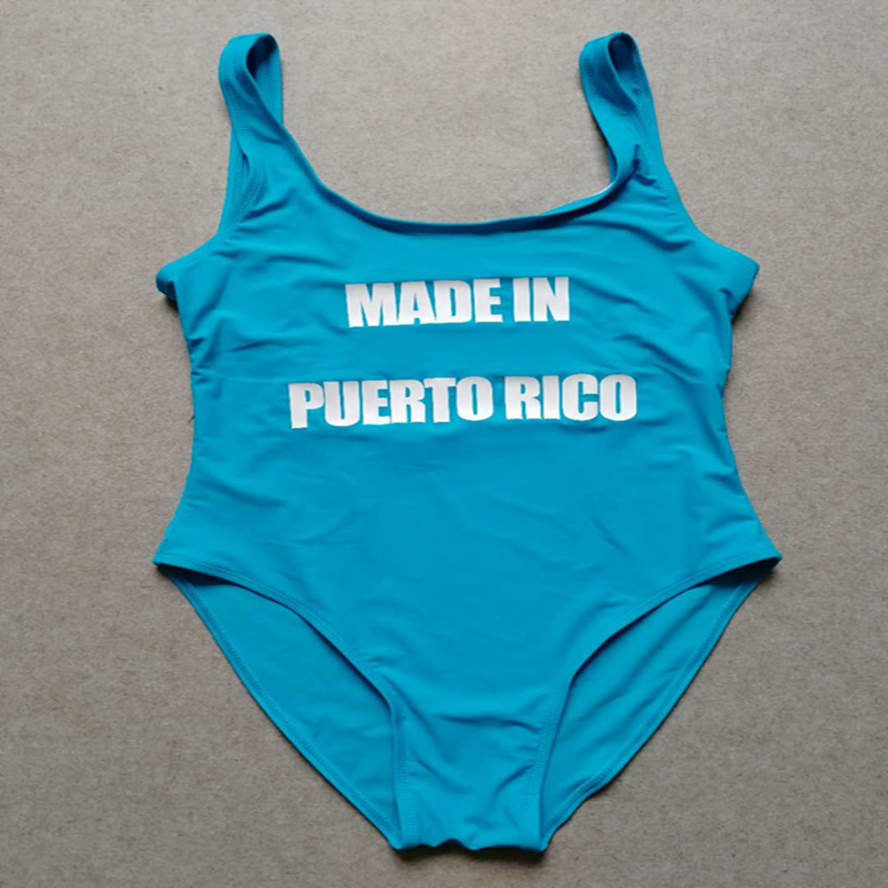 MADE IN PUERTO RICO Letter Print Sexy One Piece Swimsuit Funny Bodysuit High Cut Monokini Beach Swimwear Women Bathing Suit image