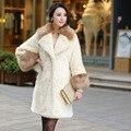 Новая осенне-зимний 2016 женщин поддельные меха лисы куртки пальто густой мех воротника женщин длинный кардиган Искусственного меха пальто