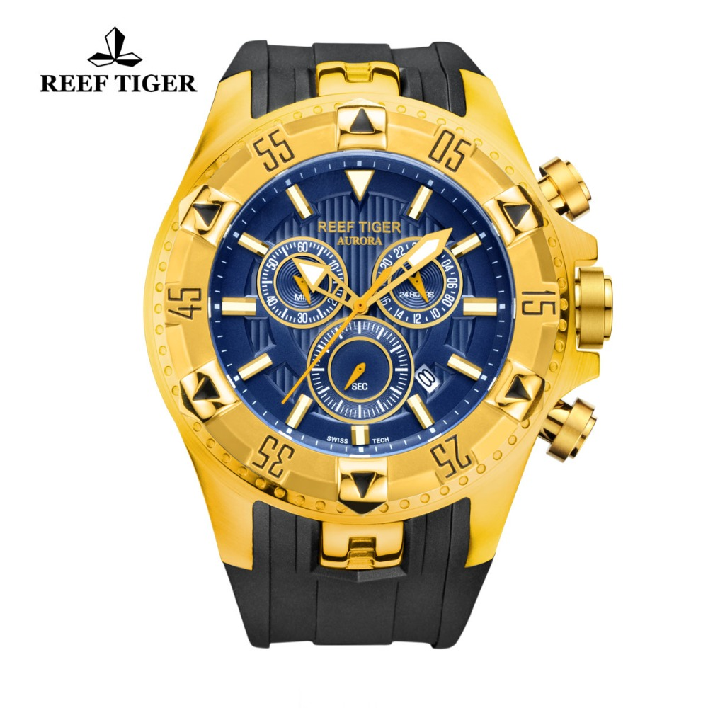 Reef Tiger/RT Chronograph Sport Watch For Men Blue Dial Yellow Gold Rubber Strap Quartz Watches RGA303