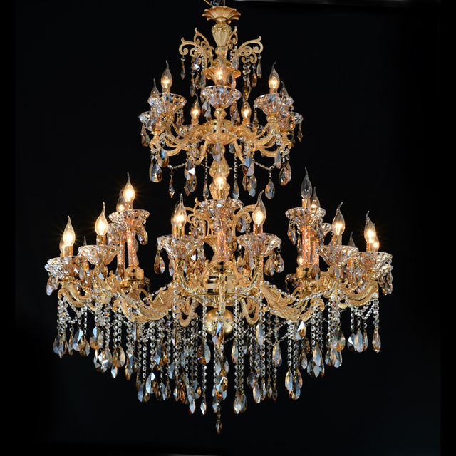 Large Gold Crystal Chandelier Lighting Big Cristal Lustres Light Fixture Chandelier Crystal for Hotel Project MD2117