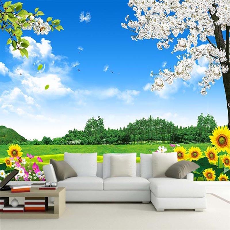Custom Mural Wallpaper 3D Nature Scenery Wall Painting ...
