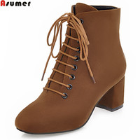 ASUMER Winter New Arrive Women Boots Square Heel Flock Lace Up Ladies Boots Black Brown Army