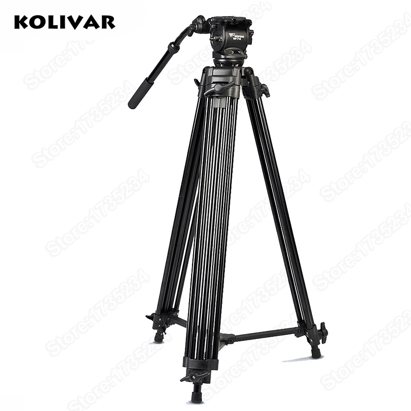 KOLIVAR WF718 Video Tripod 74 Heavy Duty Tripod with Video Fluid Pan Head for Canon Nikon Sony DSLR Camera Camcorder DV puluz heavy duty video camera tripod action fluid drag head with sliding plate for dslr