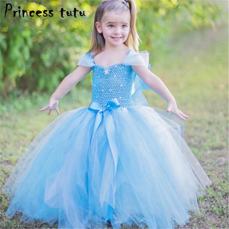 PRINCESS TUTU Elsa Anna Dress Girl Halloween Costumes Kids Girls Dress Up Clothes Fancy Party Snow Queen Cosplay Vestidos k028