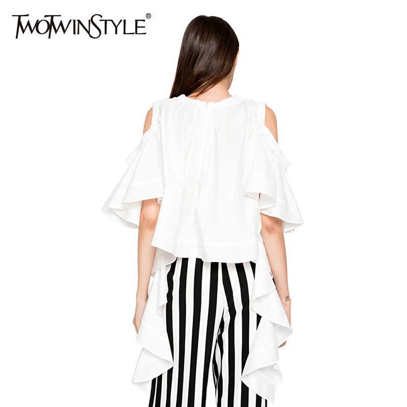 TWOTWINSTYLE フリル蝶白人女性のブラウスシャツオフショルダーセクシーなトップス女性のカジュアルな服装韓国大サイズ