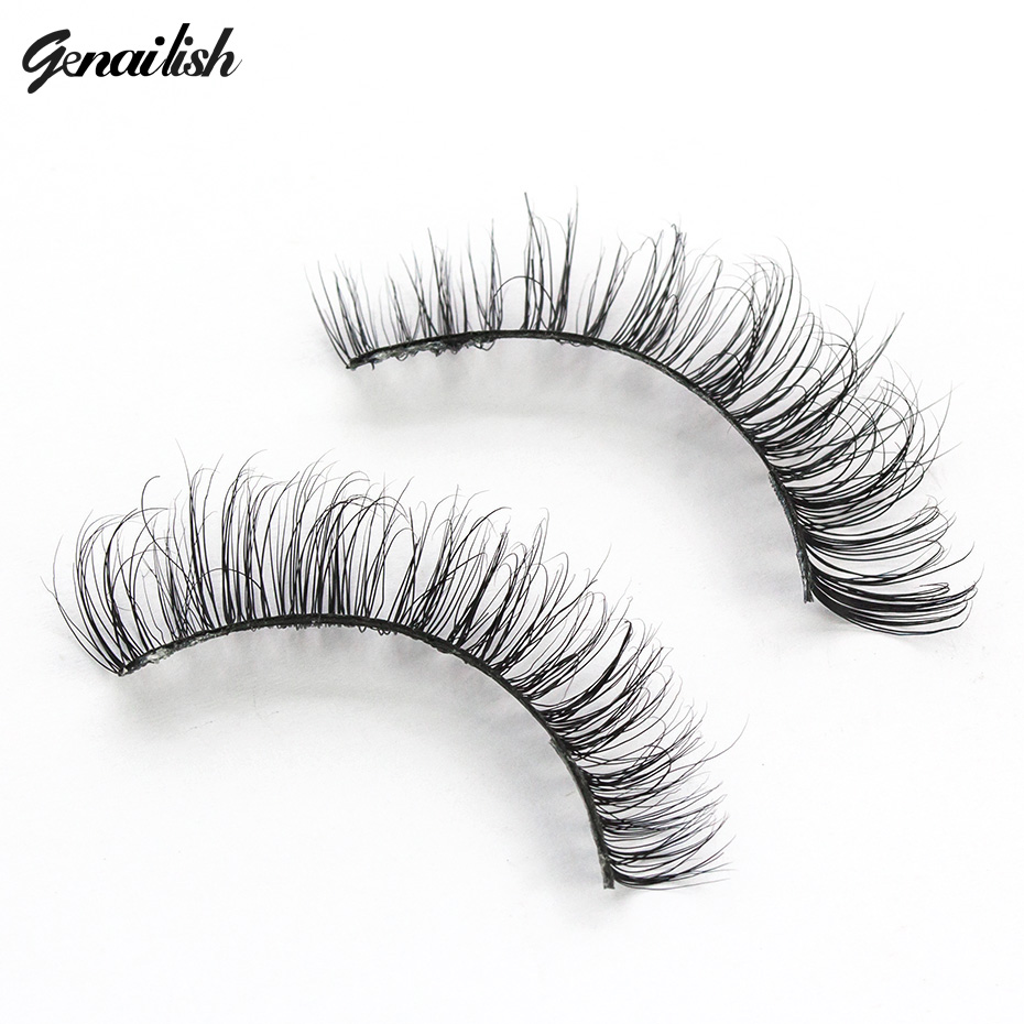 Genailish False Eyelashes 3D Mink Lashes Natutal Thick Fake Eyelashes Hand Made Full Strip Lashes 1 pair Lashes A01