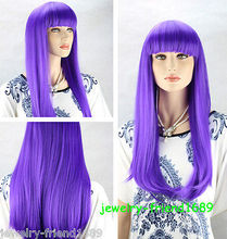 Wholesale heat resistant LY free shipping New wig Heat Resistant Cosplay Purple Long Straight Women Full