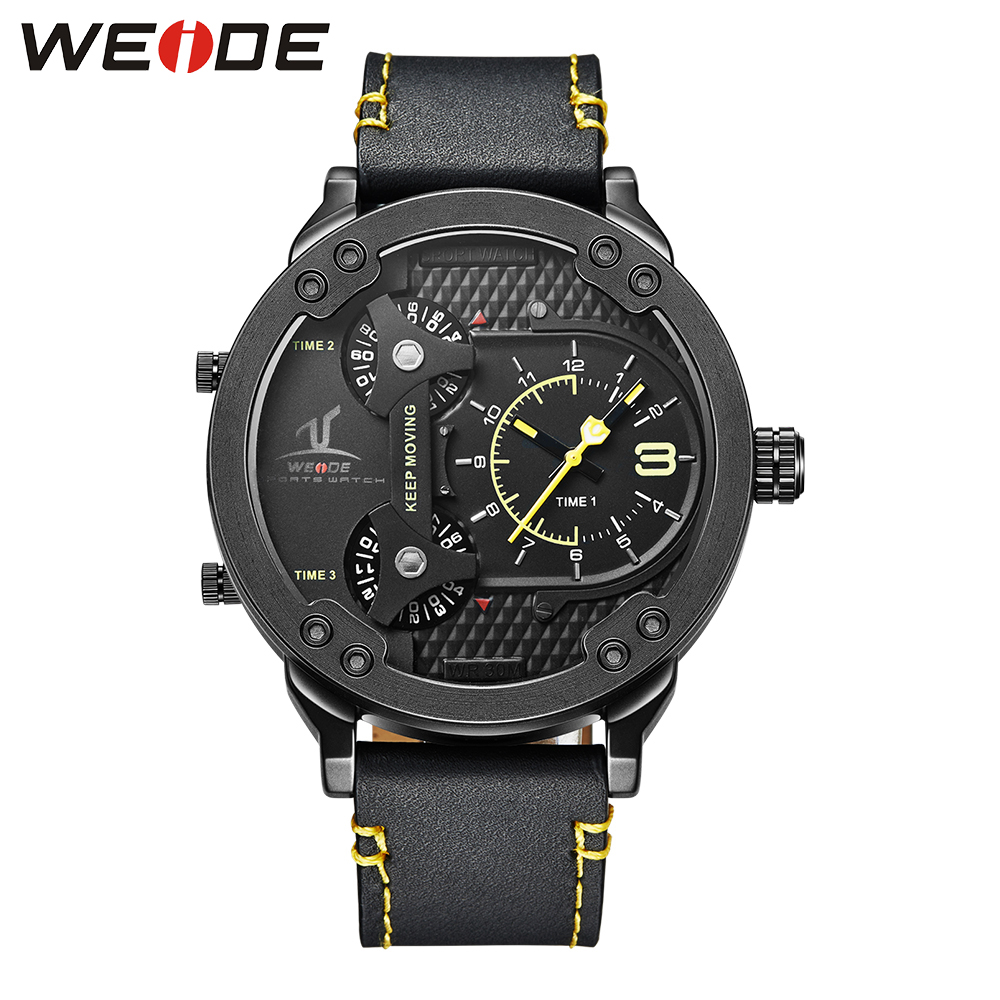 WEIDE Men Sports Quartz Watch Multiple Time Zone Quartz Japan Movement with Real Leather Strap Big Black Dial Stainless Steel brand oulm men watch stainless steel strap japan movt quartz watch multiple time zone militar sports watches relogios masculino