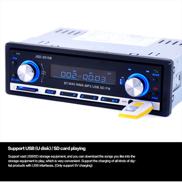 6948dc2084a 12V V2.0 Bluetooth Mmobile Phone Radio Player Single Din FM Receiver Car  Stereo Audio In-dash USB MP3 MMC Aux Input Receiver
