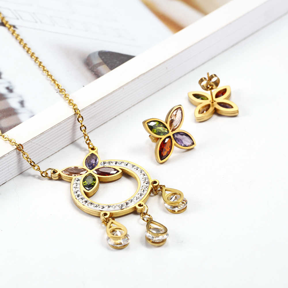 OUFEI Stainless Steel Jewelry Sets Fifts For Women Vogue 2019 Pendant Necklace Earrings set Fine Jewelry Accessories