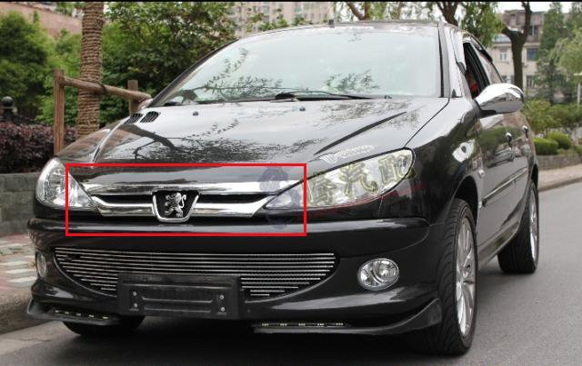 ФОТО ABS Chrome Front Grille Around Trim Racing Grills Trim For Peugeot 206/207