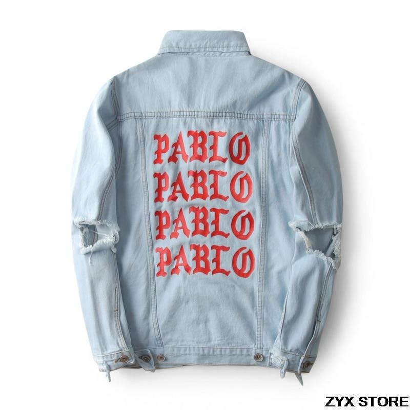Migliore Versione Xieruis Pablo Giacca di Jeans di Stampa Season3 Kanye West Pablo Jeans Giacca Hip Hop Paul Donne Militari Uomini Giacche cappotto