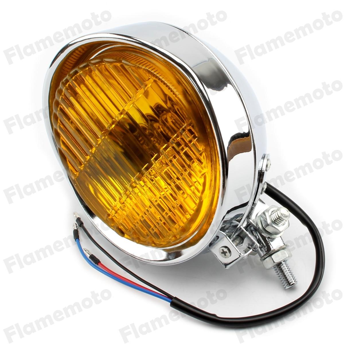 Chrome Amber Motorcycle Visor Vintage 5 8 Headlight Custom Bobber Chopper Cafe Racer Cruiser
