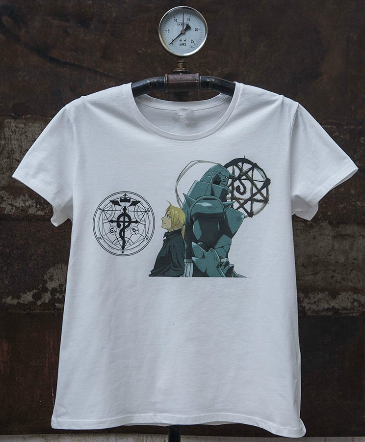 Fullmetal Alchemist * Edward * Alphonse Manga Mens T-shirt T-Shirt Men Clothing Short Sleeves Cotton Free Shipping