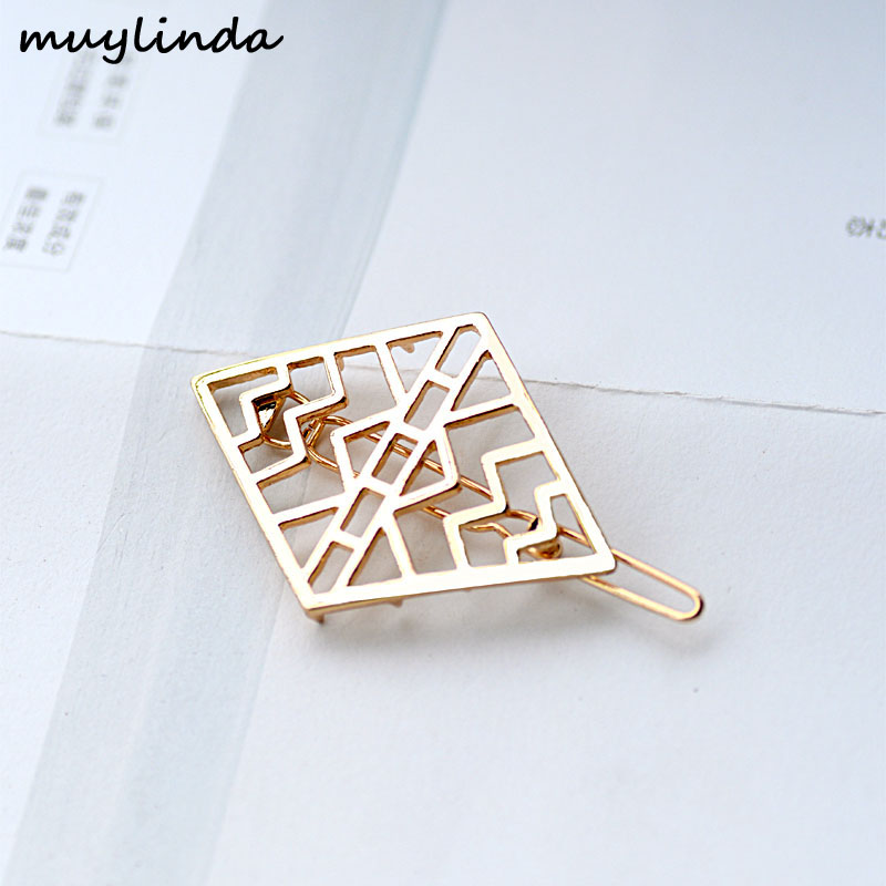 Branded Design Geometry Rhombus Metal Hairgrips Hair Clip Classic Women Hair Jewelry Accessories