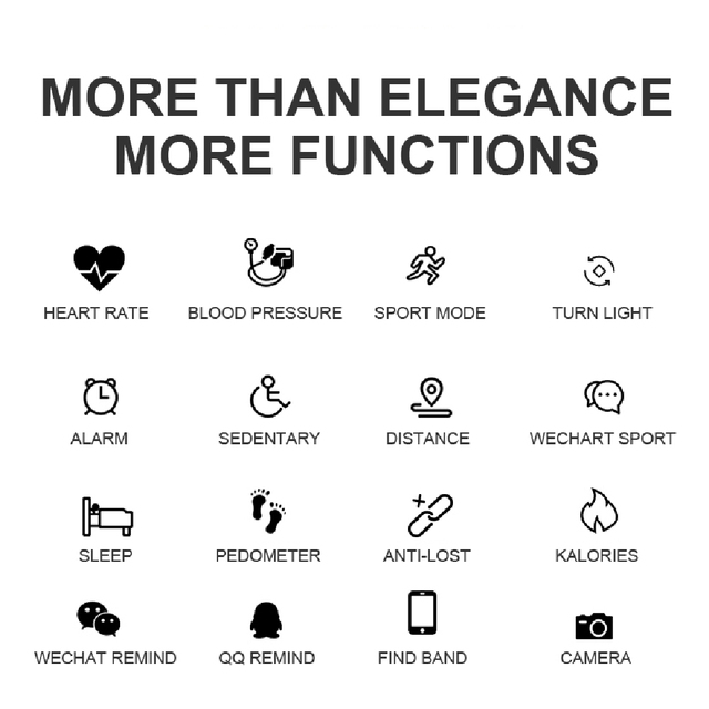 MNWT H8 Fashion Smart Wristwatches Women Digital Watches Ladies 2019 Waterproof Heart Rate Monitoring Bluetooth For Android IOS 4