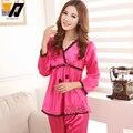 De encaje de Flores Emborided Mujeres Twinset ropa de Dormir de Las Mujeres Pijamas de Seda Conjunto de Salón de Primavera Desgaste 5 Colores