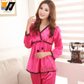 Lace Flower Emborided Women Twinset Sleepwear Women Silk Pajamas Set Spring Lounge Wear 5 Colors