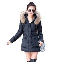 Женщины Парки 2016 зима новые прибытия большой меховой воротник, с капюшоном полный рукавом твердые длинные Пальто горячая продажа свободные Вниз 6006
