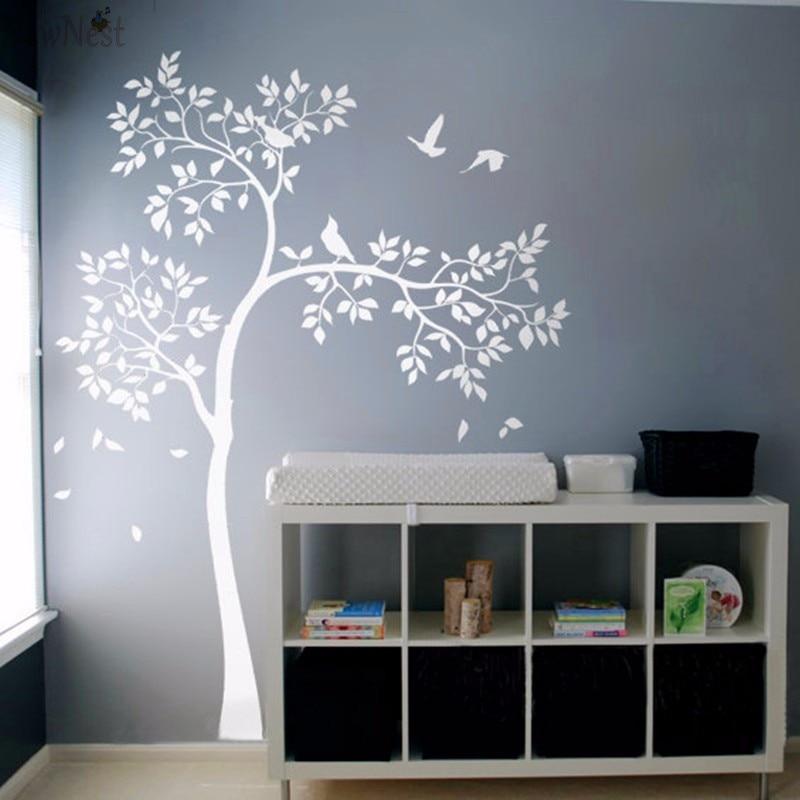 Énorme arbre blanc Sticker Mural vinyle autocollant oiseaux arbre bébé pépinière chambre murale enfants Sticker Mural papier peint décor à la maison
