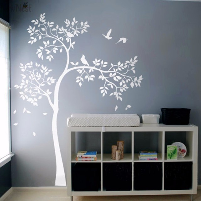 Huge White Tree Wall Decal Vinyl Sticker Birds Baby Nursery Bedroom Mural Kids