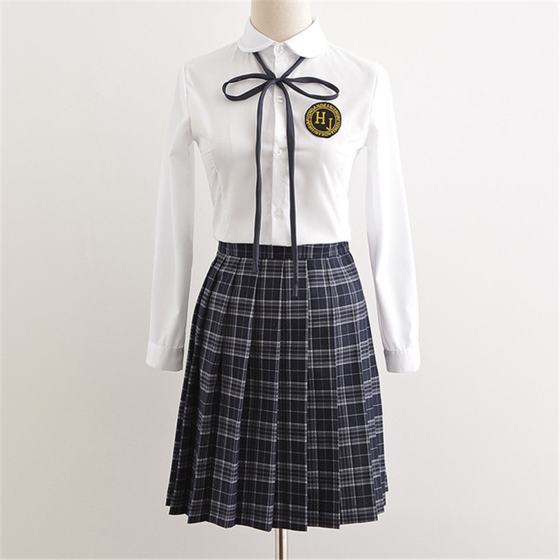 2018 Korean Japanese School Uniforms Girl Sailor Uniform Cotton Short Long Sleeve School Uniform For Girls LGZ0101